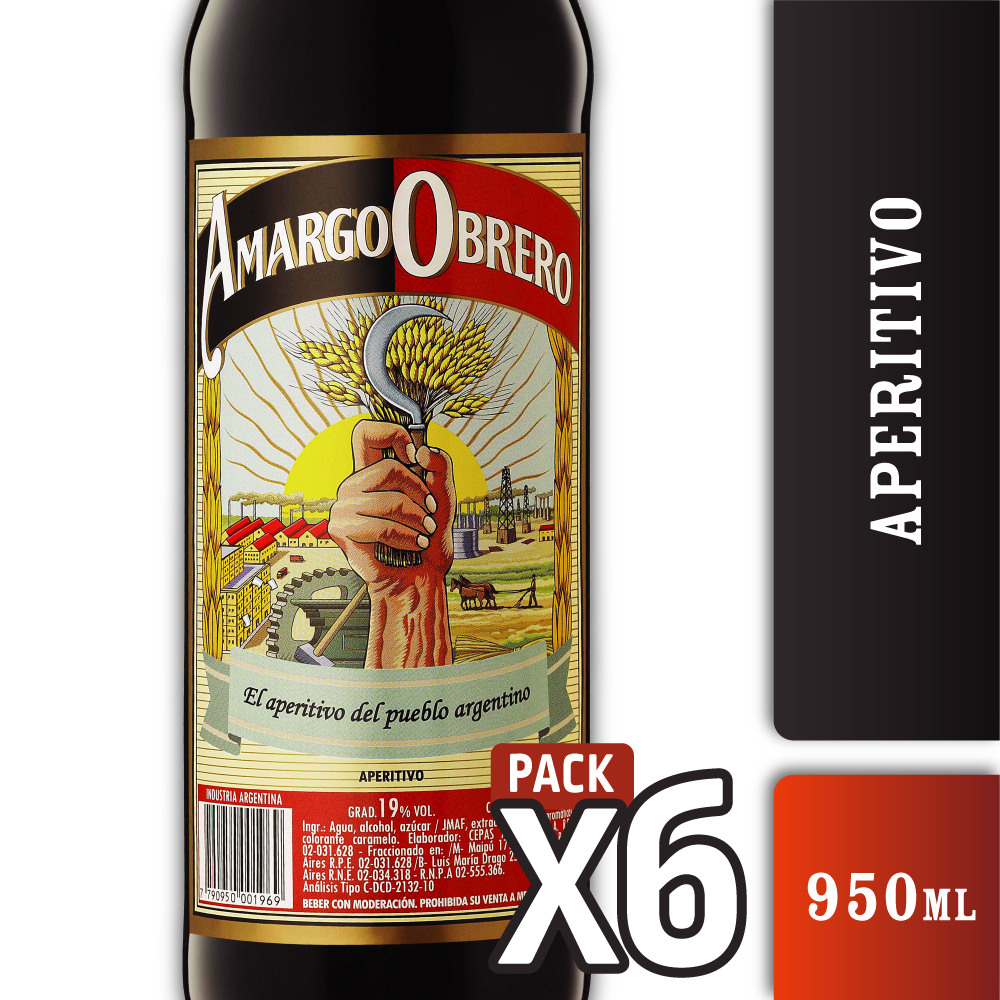 AMARGO OBRERO 19º ー 950 ml PACK x6