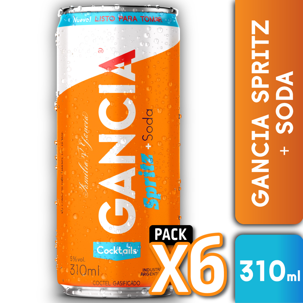 GANCIA SPRITZ + SODA 310ml PACK x6